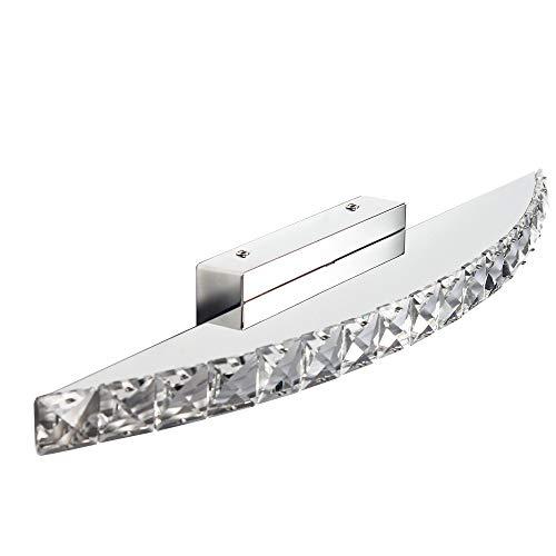 Elinkume 15W Kristall LED Spiegelleuchte Badlampe 1350 Lumens Weiß Edelstahl Einfach und stilvoll Wandleuchte Beleuchtung