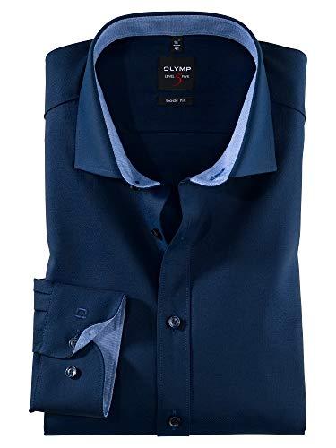 OLYMP Herren Oberhemd Langarm Level Five,Uni,Body fit,Royal Kent,Nachtblau 14,40