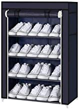 GR Marketing Multipurpose Portable Folding Shoes Rack 4 Tiers Multi-Purpose Shoe Storage Organizer Cabinet Tower with Iron and Nonwoven Fabric with Zippered Dustproof Cover (Navy Blue)