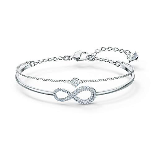Swarovski Infinity Armreif, Rhodinierter Damenarmreif mit Unendlichkeitssymbol und Funkelnden Swarovski Kristallen