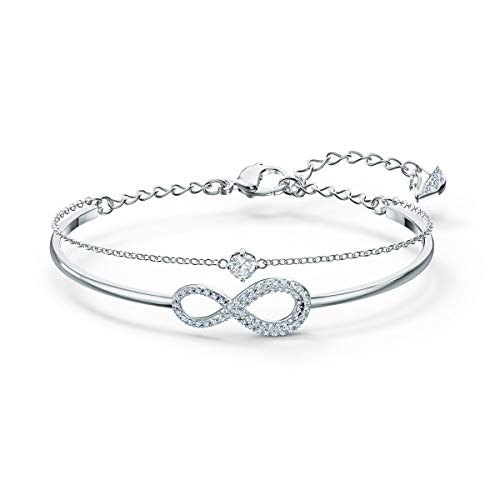 Swarovski Women's Infinity Bangle, Brilliant White Crystals, Rhodium Plated Metal, from Swarovski Infinity Collection