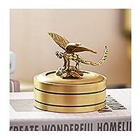創造的な銅ジュエリーボックス、ファッションギフトリビングルームのホームデコレーションカバージュエリー純粋な銅灰皿人格(色:ゴールド)
