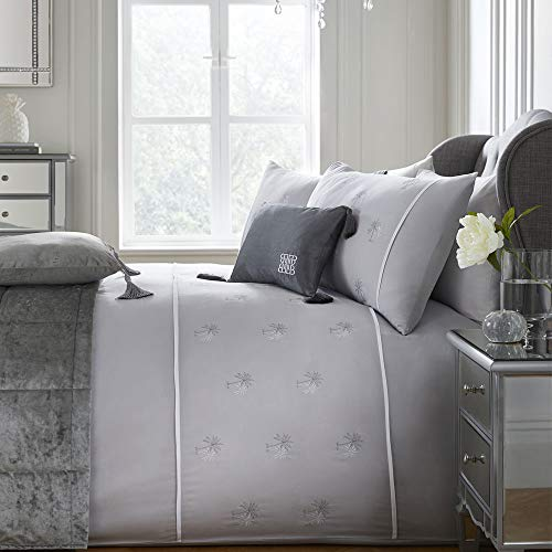 Laurence Llewelyn Bowen Midnight At The Oasis Embroidered Duvet Cover Set, Grey, King