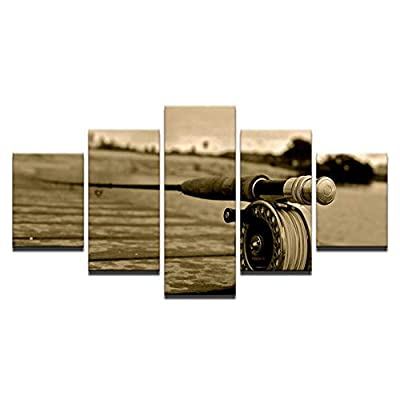 HOMEDCR Wallpaper Mural Wall Art Landscape Canvas Painting Living Room Decoration Poster 5 Pieces Fly Fishing Poster Modular Picture