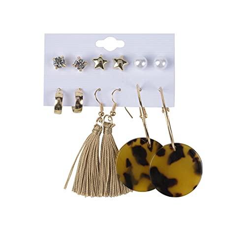 1 pieza pequeños pendientes de tuerca con diseño de estrella, diseño de leopardo, estilo vintage