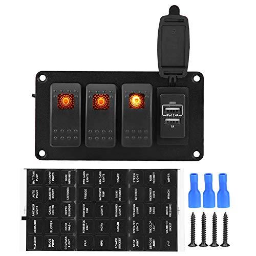 Interruptor basculante de 3 pandillas Interruptor basculante a prueba de agua Panel Panel Interruptor con luces LED de color naranja para el barco del coche
