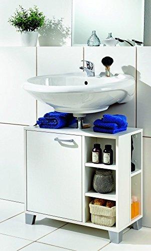 Galdem Waschbeckenunterschrank mit Tür 5 offene Fächer Bad Möbel Badschrank Gäste WC Gästebad Waschtisch Unterschrank Holz Weiß