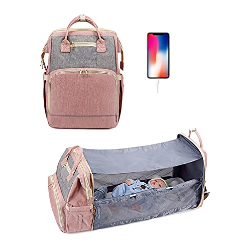 YYL Baby Changing Bag Backpack with Travel Bassinet, Detachable Foldable Baby Bed 3 in 1 Nappy Bags Changing Station, Travel Diaper Bag with Crib,Shade Cloth,Mattress