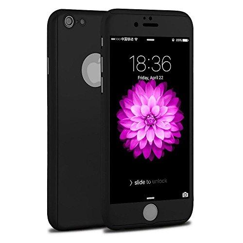 Funda iPhone 5 5s SE 360 Grados Integral para Ambas Caras + Protector de Pantalla de Vidrio Templado,[ 360 ° ] [ Negro ] Case/Cover/Carcasa iPhone 5 5s 5c SE (iPhone 5 5s SE 4.0inch, Negro)