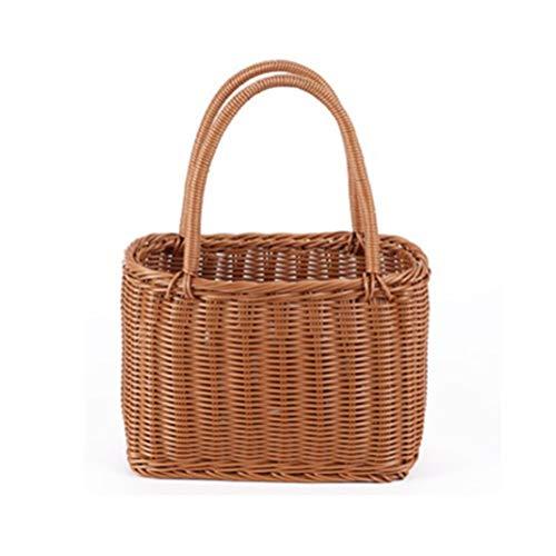 Rattan-like Willow Wicker Handmade Shopping Basket Portable Flower Basket Fruit Basket Picnic Basket Bread Basket Storage Basket Pet Basket (Size : Rattan handle large)