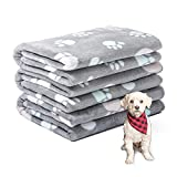 1 Pack 3 Puppy Blanket Warm Fuzzy Flannel Small Dog Blankets Boy Washable Fluffy Pet Cat Throw Pad Couch Sofa Cover Premium Grey Paw Print