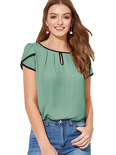 Milumia Women's Chiffon Round Neck Pleated Cap Sleeve Keyhole Blouse Top color: M-Green-2, size: XL
