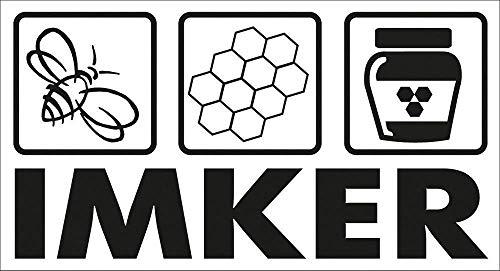 Auto-Aufkleber - Imker Biene Wabe Honigtopf - 307160/5 Gr. ca. 12cm x 6,5cm - Autoaufkleber
