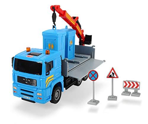 Dickie Toys 203744003 Heavy City Truck, Man LKW, Spielzeuglaster mit Friktion, inkl. Zubehör, bewegliche Teile, 20 cm, 4 Verschiedene Ausführungen, ab 3 Jahren