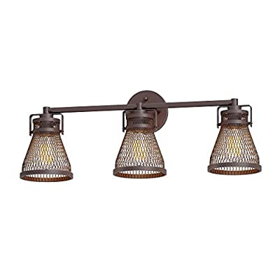 Inlight Industrial Vanity Light Oil Rubbed Bronze, Farmhouse Bathroom Light Fixture Over Mirror with Meshed Metal Shade, 3-Light(Bulb Not Included), Damp Location Rated, ETL Listed, IN-0441-3-BZ