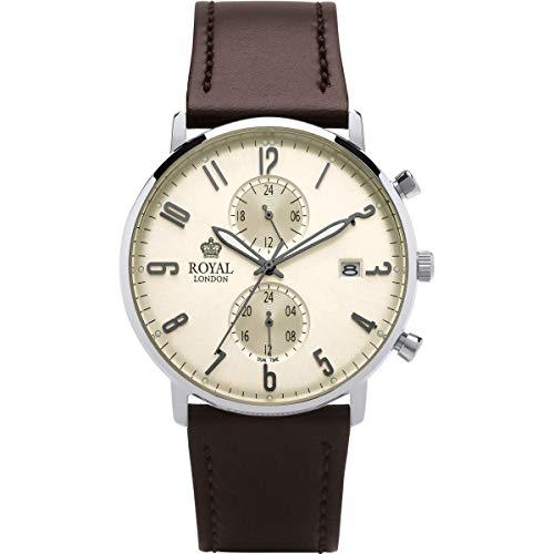 Royal London para Hombre Slim Reloj Dual Tiempo función Correa de Piel Color marrón