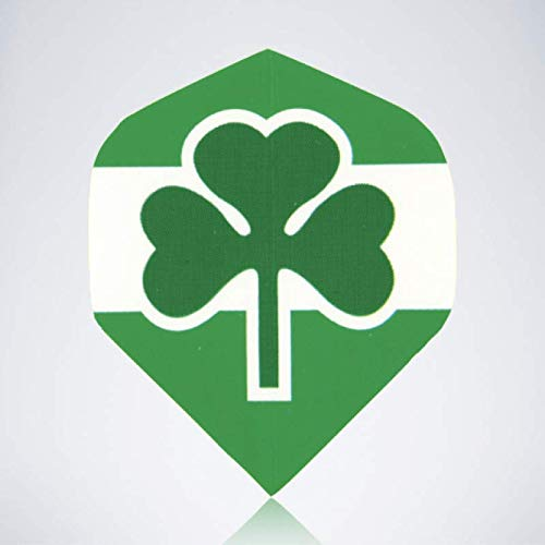 myDartpfeil Grüne Standard Dart Flights | Irland Kleeblatt aus Kunststoff | 3er Flight Set | Dartpfeil Flyer