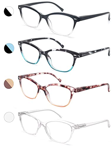 Women Reading Glasses 1.75 4 Pair Stylish Ladies Readers with Comfort Spring Hinge Pattern Design Pouch Included