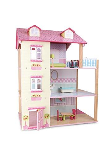 """small foot 3126 Puppenhaus \""""Rosa\"""" aus Holz, inkl. 21 Möbelstücken, 3 Etagen, mit drehbarem Sockel, ab 3 Jahren"""