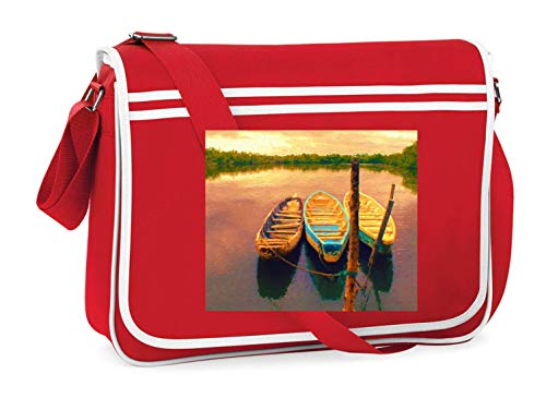 Drucklebnis24 - Bolso de hombro para barcos y paisajes, apto para escuela, universidad, ordenador portátil