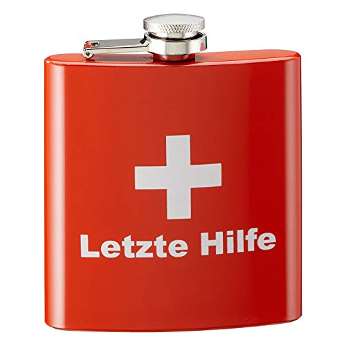 Flachmann LETZTE HILFE aus Edelstahl 170 ml - Flachmänner - Brustwärmer