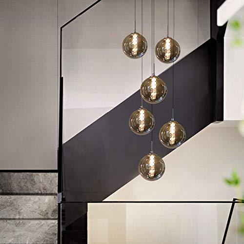 HUIRUI Pendelleuchte esstisch Pendellampe Höhenverstellbar Kronleuchter Hängeleuchte 6-Flammig aus Glas in Farbe Grau Küchen Wohnzimmerlampe Schlafzimmerlampe Flurlampe