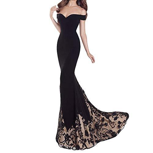 FRAUIT Elegante damesjurk op vloerlange feestjurk Flare jurk zonder mouwen, cocktailjurk lange zomer party jurk grote gelegenheid nobele kraagjurk