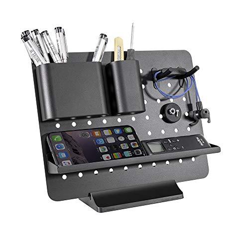 Vaydeer Schreibtisch Organizer Aluminium Büroorganizer Schreibtisch, Metall Multifunktional Bürobedarf Schreibtisch Set mit Modularem Zubehör für Büro Zubehör - Schwarz