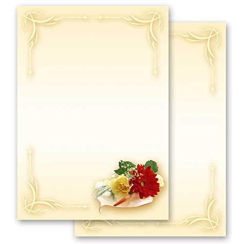 20 Blatt Briefpapier Blumen & Blüten, Liebe & Hochzeit BLUMENBUKETT - DIN A4 Format - Paper-Media