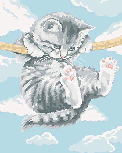 Columpio gato pintura digital kit de pintura al óleo de bricolaje pintado a mano para adultos para dibujar en lienzo con pinceles para regalos de decoración del hogar 40x50cm