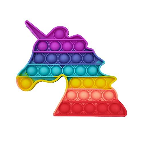 GreenBee Juguete Antiestrés Sensorial de Explotar Burbujas Push Pop Bubble Fidget Toy Herramientas para aliviar el estrés y la ansiedad para niños y Adultos (Unicornio mágico)