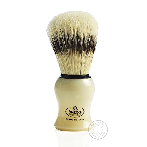 Brocha de Afeitar Cerda Omega Marfil con Soporte