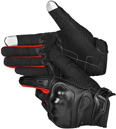 Hombres Touch Screen Transpirable Motobike Motor Moto Protective Gear Motocross Guantes de Motocross Pareja de Guantes cálidos (Color : Red, Size : M)
