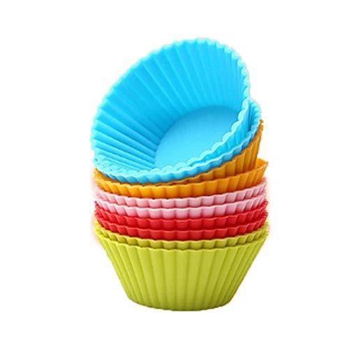 12Pcs Pirottini per Muffin Pirottini da Forno Tazza per Muffin in Silicone Stampi per Torte in Silicone Cupcake Torte Stampo per Torta Budini Forno Decorazione Stampi per Dolci(Taglia Piccola 5*2.3cm)