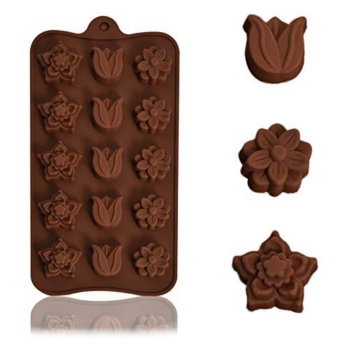 AOXING Moldes de silicona de silicona para hornear pasteles, brownie Topper, caramelos duros y suaves, gomitas, gelatina, bombas de grasa Keto - formas elegantes en bandejas marrón