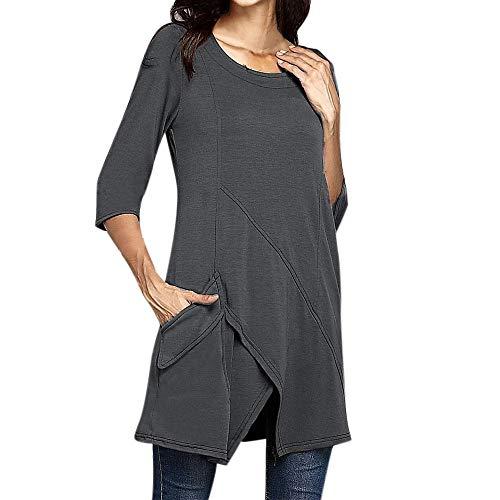 Lenfesh Camisetas Camisas Largo con Manga Larga Moda Túnicas sólido Vestido Camisero...