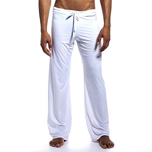 Ubrand Casual Ice Silk Yoga Pants for Men Long Lounge Trousers Sleepwear Bottom S White