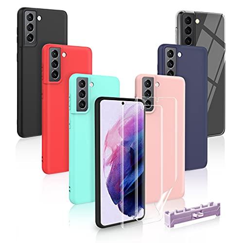 6 Cover Samsung Galaxy S21 5G con 2 Pezzi Pellicola Protettiva, Custodia per Samsung Galaxy S21 5G in Silicone TPU, Back Case Cellulare Nero + Rosa + Blu Scuro + Rosso + Verde Menta + Trasparente