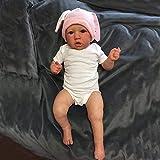 22 Pulgadas / 55 cm Lindo Vinilo de Silicona muñecas Reborn Baby Boy con Pelo Realista Encantadora muñeca para niños pequeños (Cuerpo de algodón Ojos Azules)