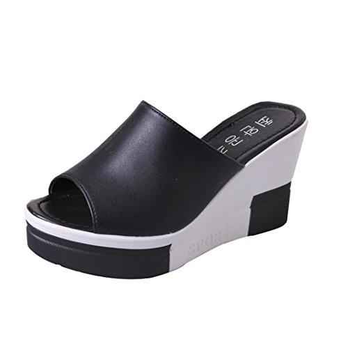 PAOLIAN Sandalias de cuña para Mujer Plataforma Verano 2018 Chanclas de cuña Zapatos de tacón de Boca de Pescado Mujer Mocasines Terciopelo Fiesta