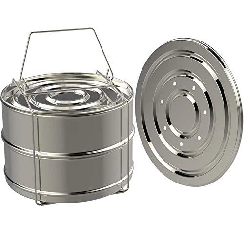 Accessoires pour casserole instantanée, 304 en acier inoxydable empilable, double panier vapeur à légumes, accessoires d'autocuiseur compatible avec cuisinière de 5, 6 et 8 litres