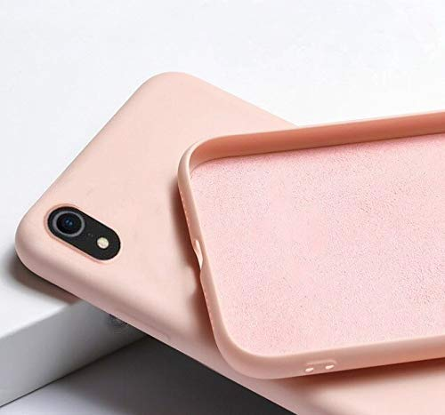 mobistyle iphone xr back case cover soft silicone slim matte silicone tpu with logo cut shockproof slim back cover case for iphone xr (pink) - Pink