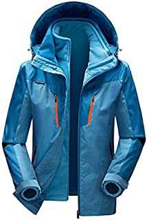 BEESCLOVER Men Women Windproof Hiking Skiing Jacket Winter 3 in 1 Outdoor Soft Shell Jacket Waterproof Coats Outdoor Climbing Hooded