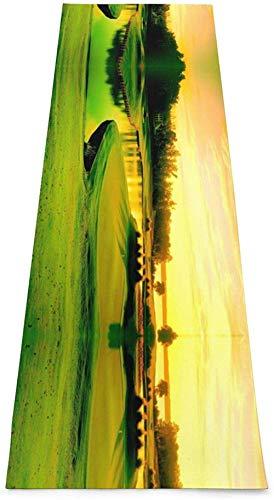 Toalla De Yoga Antideslizante,Campo De Golf Impresión Eco-Friendly Fitness Ejercicio Estera,Esteras De Meditación,Ejercicios De Piso Impresos &Alfombra De Aptitud Pilato Para Mujer 183×61cm