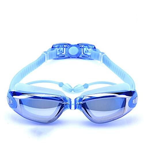Gafas de natación, paquete de 2, gafas de natación para adultos, hombres, mujeres, jóvenes,niños,niños,gafas de triatlón para piscina con lentes de protección UV 400 transparentes y espejadas,Azul