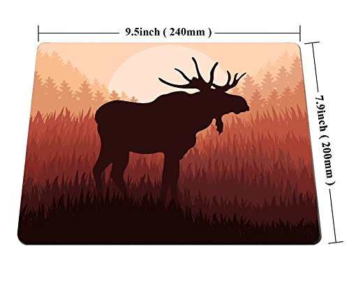 Smooflly Moose Mouse Pad,Antlers in Wild Alaska Forest Rusty Abstract Landscape Design Deer Theme Mouse Pad 9.5 X 7.9 inches Photo #2