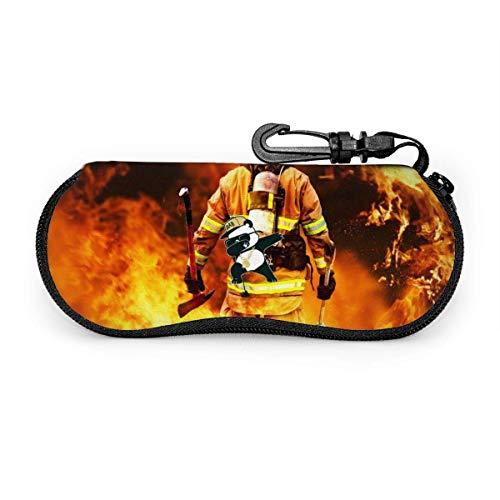 WCHAO Feuerwehr-Sonnenbrille mit Verschlussschnalle Soft Bag Ultraleichtes Tauchgewebe Reißverschluss-Brillenetui