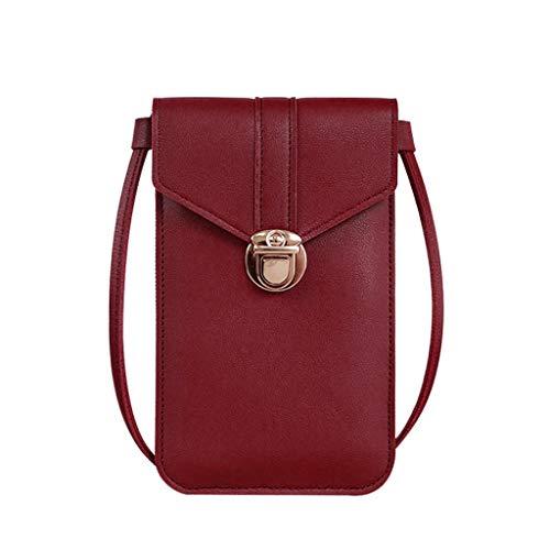 Bolso de piel sintética con pantalla táctil para teléfono móvil, bolso de viaje para pasaporte, bolso pequeño para mujer, bolso cruzado para teléfono celular