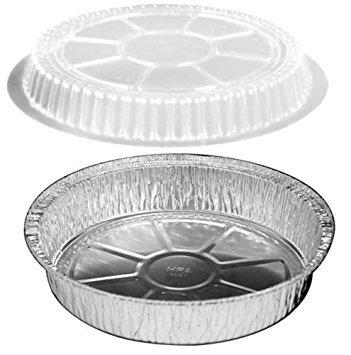 HandiFoil 7' Takeout to-Go Round Disposable Aluminum Foil Pan Sets with Plastic Dome Lids, 10 Count, 7 1/8'x 7 1/8' x 1 1/2' deep