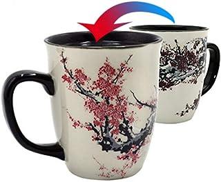 Asmwo Color Changing Heat Sensitive Magic Funny Art Mug Large Coffee Tea Plum Blossom Porcelain Mugs for Women Mom grandma Gifts 16oz Black Change Glow Red Cups